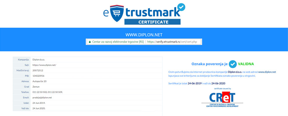 Diplon kupatila eTrustmark sertifikat