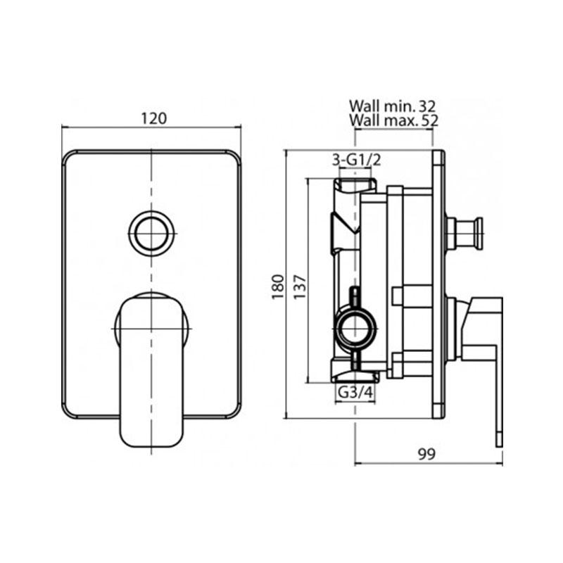 Loft ugradna baterija za kadu