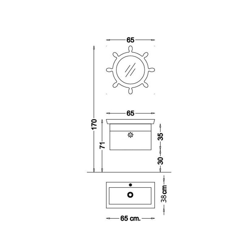 Yelken 65 V1- dečiji kupatilski set