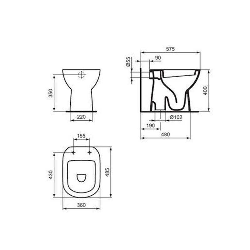 Tempo wc šolja podna simplon