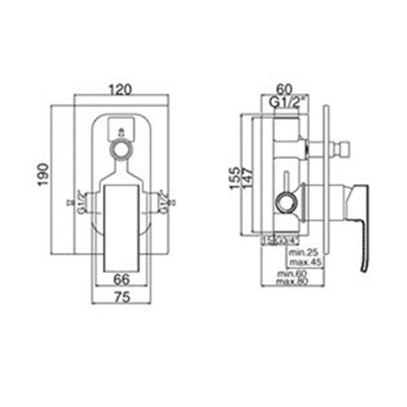 Level ugradna baterija sa prebacivačem (set)