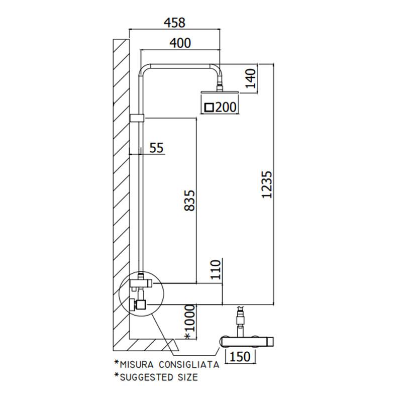Level baterija sa usponskim tušem