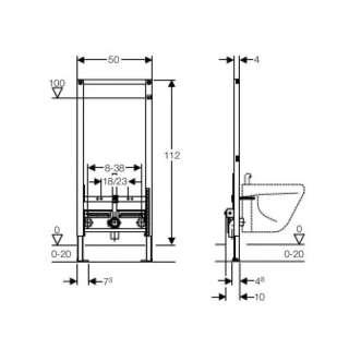 Duofix montažni element za bide 112cm