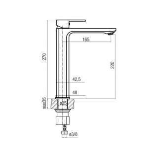 Loft visoka baterija za umivaonik 27mm