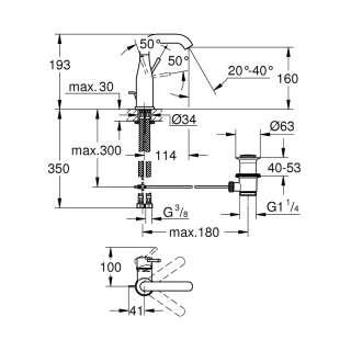 Essence baterija za umivaonik M visina