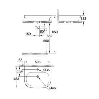Euroceramic umivaonik 55cm