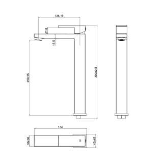Quadro visoka baterija za lavabo ST2532-1