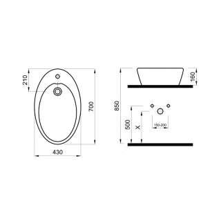 Nadgradni lavabo Planet  43cm
