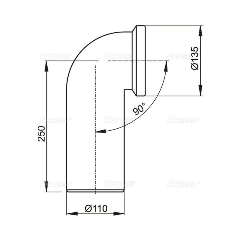 WC konektor 110/90