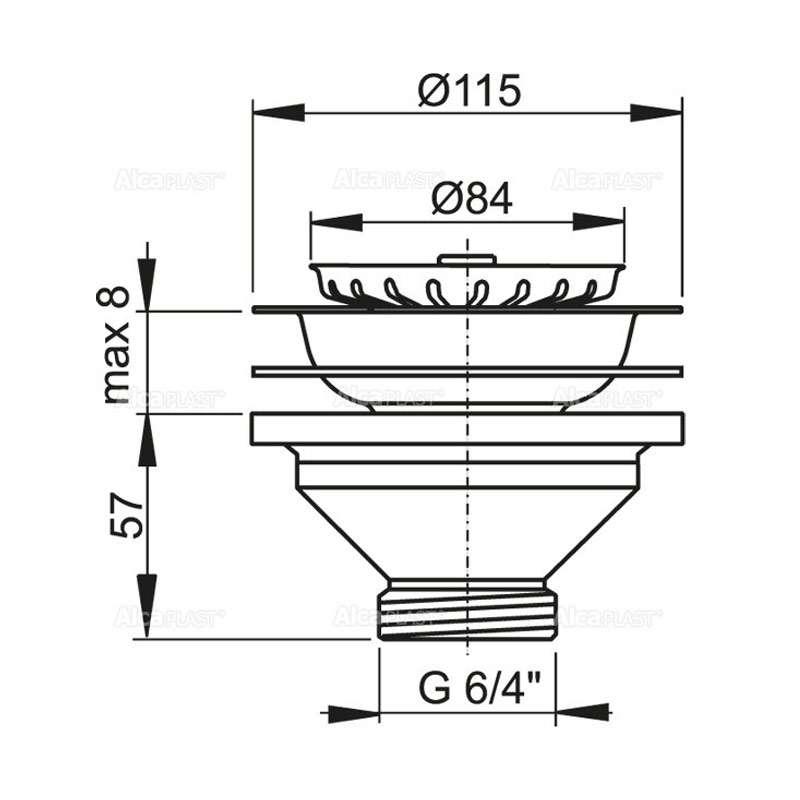 Sifon za sudoperu 6/4 Ø115