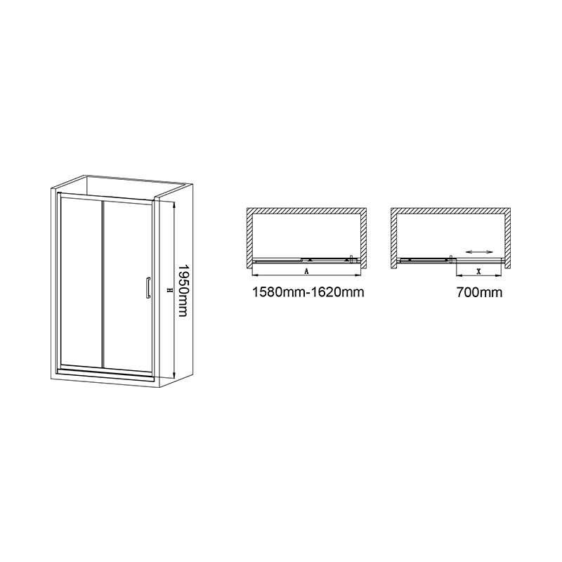 Tuš vrata BP6696SA 160cm