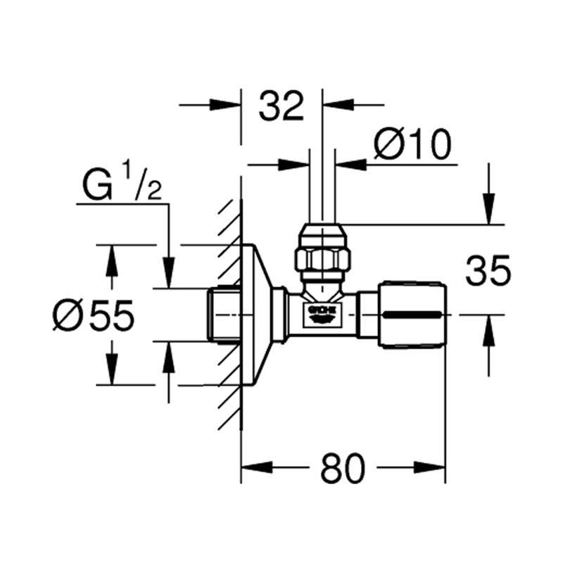 Grohe ek ventil 1/2 - 3/8 sa holenderom 80mm