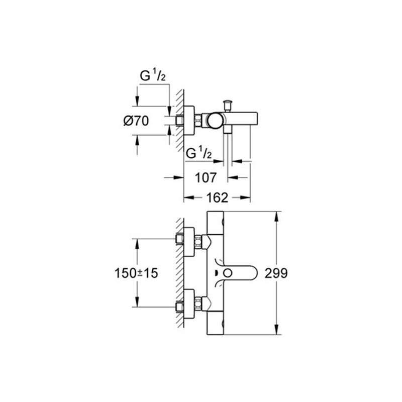 Grohtherm 1000 Cosmopolitan termostatska baterija za kadu