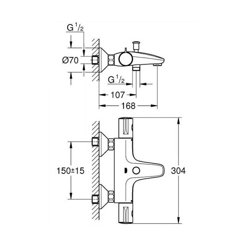Grohtherm 800 Cosmopolitan M termostatska baterija