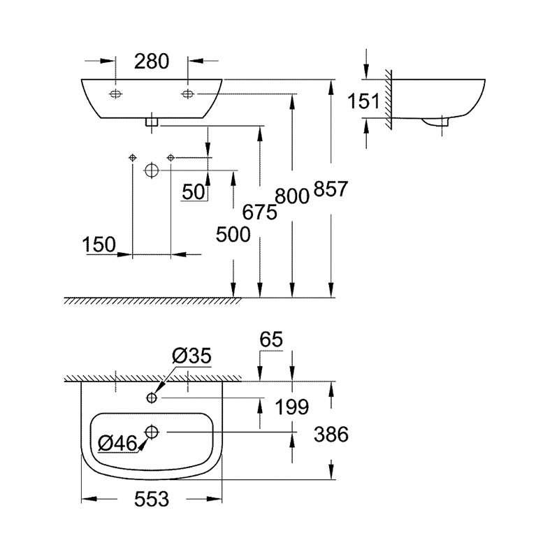 BauCeramic umivaonik 55cm