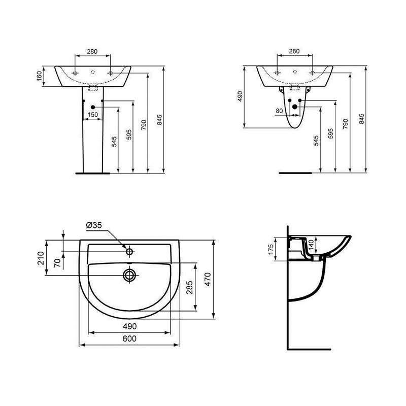 Tenax lavabo 60x47cm