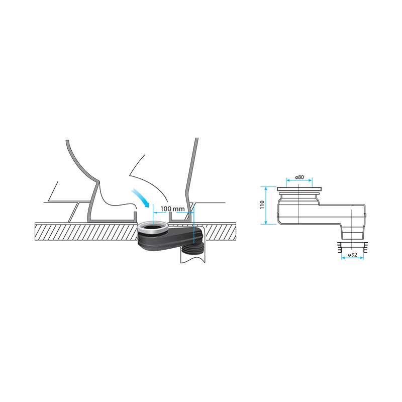 Odvodna veza za WC šolju ekscentar 100mm