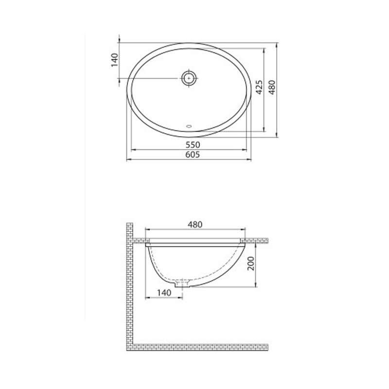 Lavabo Podgradni 55cm 70100U