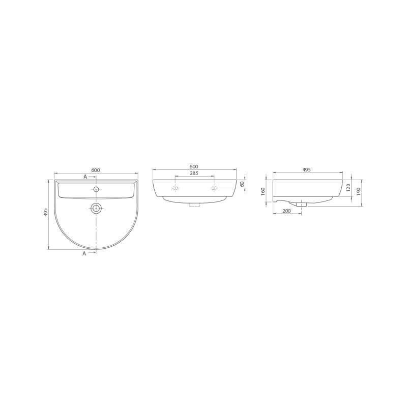 Bella lavabo 60x50cm 7800